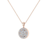 0.60  ct tw Circle Cluster Diamond Pendant Necklace 14k Gold (G,VS2) - Rose Gold
