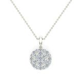 0.60  ct tw Circle Cluster Diamond Pendant Necklace 14k Gold (G,VS2) - White Gold