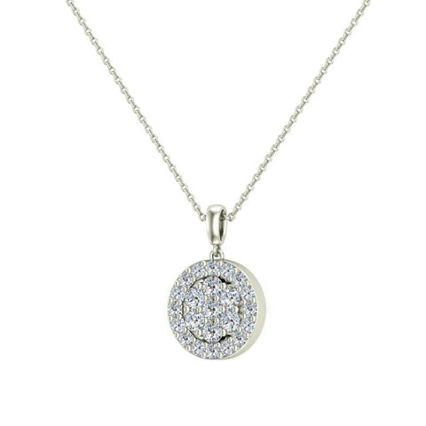 060 ct tw circle cluster diamond pendant necklace 14k gold g hi2 060 ct tw circle cluster diamond pendant necklace 14k gold gi2 aloadofball Image collections