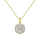 0.60  ct tw Circle Cluster Diamond Pendant Necklace 14k Gold (G,VS2) - Yellow Gold