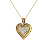 0.56 ct tw Pave-Set Heart Diamonds Necklace 18K Gold(G,VS) - Yellow Gold