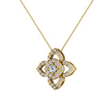 0.90 ct wt Floral pattern motif Diamond Necklace 14K Gold (G,SI) - Yellow Gold