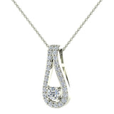 0.46 ct tw Teardrop Halo Diamond Necklace 18K Gold (G,VS) - White Gold
