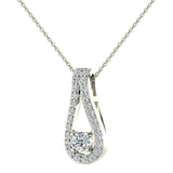 0.46 ct tw Teardrop Halo Diamond Necklace 14K Gold (I,I1) - Rose Gold