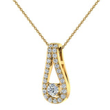 0.46 ct tw Teardrop Halo Diamond Necklace 14K Gold (I,I1) - Yellow Gold