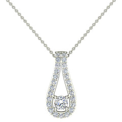 18K Gold Necklace Teardrop Halo 0.46 ct tw Diamond Necklace in White Gold