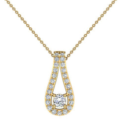14K Gold Necklace Teardrop Halo 0.46 ct tw Diamond Necklace in White Gold