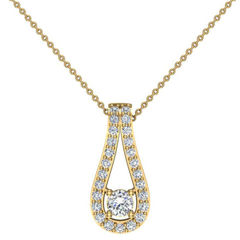 0.46 ct tw Teardrop Halo Diamond Necklace 14K Gold (I,I1) - White Gold