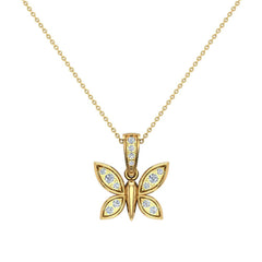 18K Gold Necklace 0.17 ct tw Diamond Butterfly Charm in Yellow Gold