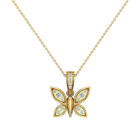 14K Gold Necklace 0.17 ct tw Diamond Butterfly Charm (I,I1) - Yellow Gold