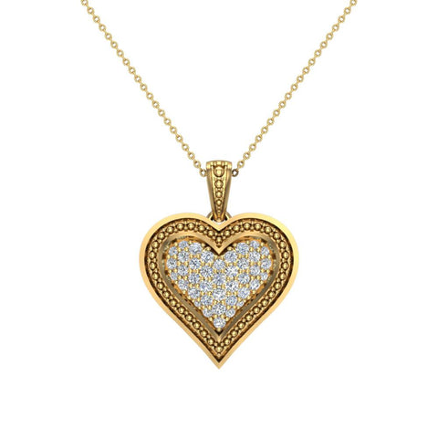 0.56 ct tw Pave-Set Heart Diamonds Necklace 14K Gold (I,I1) - Yellow Gold