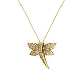 Dragon fly 14K Gold Necklace Pave set Diamond Charm 0.36 Carat Total Weight (G,SI) - Yellow Gold