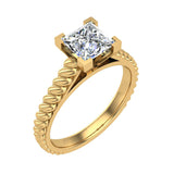 Princess Cut Rope Setting Solitaire Engagement Ring 14K Gold (G,SI) - Yellow Gold