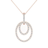 Entwined Circles Dangling Diamond Pendant in 18K Gold (G,VS) - Rose Gold
