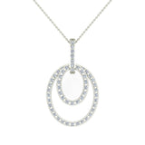 Entwined Circles Dangling Diamond Pendant in 18K Gold (G,VS) - White Gold