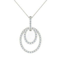 Entwined Circles Dangling White Diamond Pendant in White Gold