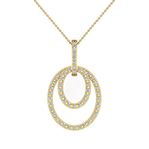 Entwined Circles Dangling Diamond Pendant in 14K Gold (G,SI) - Yellow Gold