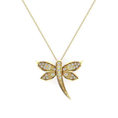 Dragon fly 14K Gold Necklace Pave set Diamond Charm 0.36 Carat Total Weight (I,I1) - Yellow Gold