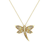 Dragon fly 18K Gold Necklace Pave set Diamond Charm 0.36 Carat Total Weight (G,VS) - Yellow Gold