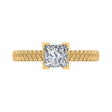 Princess Cut Rope Setting Solitaire Engagement Ring 14K Gold (I,I1) - Yellow Gold