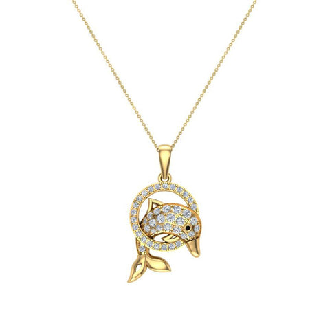 Bottle-Nose Dolphin 14K Gold Necklace Diamond Charm Pendant 0.74 Carat Total Weight (G,SI) - Yellow Gold