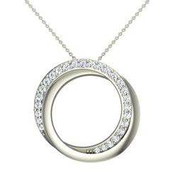 18K Gold Necklace 0.61 ct tw Diamond Pendant Intertwined Circles in White Gold