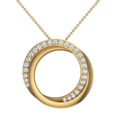 14K White Gold Necklace 0.61 ct tw Diamond Pendant Intertwined Circles (I,I1) - Yellow Gold