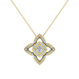 0.90 ct wt Floral pattern motif Diamond Necklace 18K Gold (G,VS) - Yellow Gold