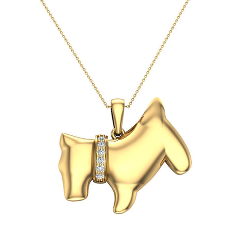 18K Gold Necklace Diamond Dog Pendant 0.10 Carat Total Weight (G,VS) - Yellow Gold