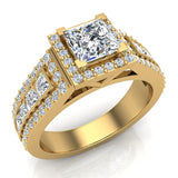 Statement Band Princess Cut Halo Diamond Engagement Ring 1.82 Carat Total 14K Gold (G,I1) - Yellow Gold