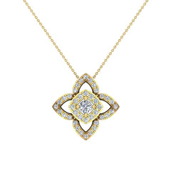 Floral Motif Halo White Diamond Pendant in Yellow Gold