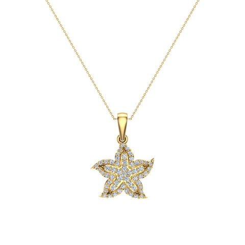 Starfish 14K Gold Necklace Ocean/Beach Jewelry 0.75 Carat Total Weight (G,SI) - Yellow Gold