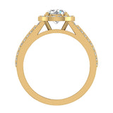 Statement Round Cut Halo Diamond Engagement Ring 1.90 Carat Total Weight 18K Gold (G,SI) - Yellow Gold