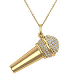 0.82 Carat Voice Microphone Diamond Necklace Music Jewelry Charm 18K Gold (G,SI) - Yellow Gold