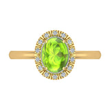 2.10 Carat Peridot & Diamond Fashion Cocktail Ring Hand Right 14K Gold - Yellow Gold
