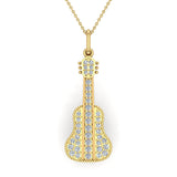 0.36 Carat Guitar Instrument Charm Diamond Necklace Music Jewelry 14K Gold (G,I1) - Yellow Gold