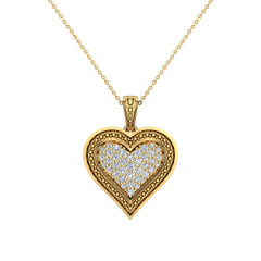 18K Gold Heart Necklace 0.56 ct tw Pave-Set Diamonds in Yellow Gold