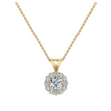 Halo Diamond necklaces for women 14K Gold Charms Round Cut Earth-mined Diamond Pendant (I, I1) - Yellow Gold