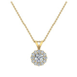 3/8 ct tw White Round Brilliant Diamond Halo Pendant 14K Gold (G,I1) - Yellow Gold