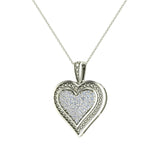 0.56 ct tw Pave-Set Heart Diamonds Necklace 18K Gold(G,VS) - White Gold