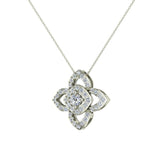 0.90 ct wt Floral pattern motif Diamond Necklace 14K Gold (G,SI) - White Gold
