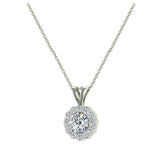 3/8 ct tw White Round Brilliant Diamond Halo Pendant 14K Gold (G,VS) - White Gold
