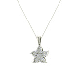 Starfish 14K Gold Necklace Ocean/Beach Jewelry 0.75 Carat Total Weight (I,I1) - White Gold