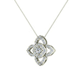 0.90 ct wt Floral pattern motif Diamond Necklace 18K Gold (G,VS) - White Gold