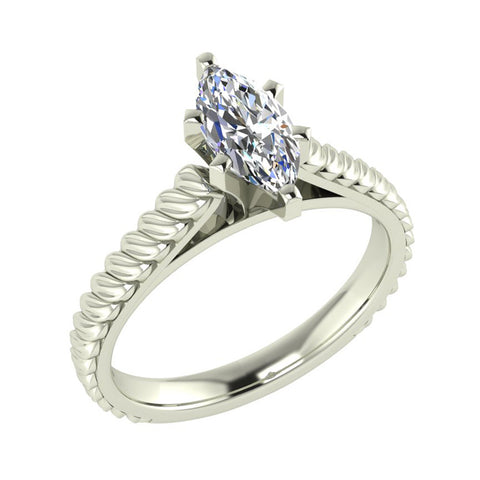 Marquise Cut Rope Setting Solitaire Engagement Ring 18K Gold (G,VS) - White Gold