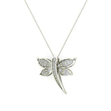 Dragon fly 14K Gold Necklace Pave set Diamond Charm 0.36 Carat Total Weight (I,I1) - White Gold