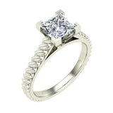 Princess Cut Rope Setting Solitaire Engagement Ring 14K Gold (G,SI) - White Gold
