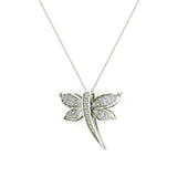 Dragon fly 14K Gold Necklace Pave set Diamond Charm 0.36 Carat Total Weight (G,SI) - White Gold