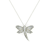 Dragon fly 18K Gold Necklace Pave set Diamond Charm 0.36 Carat Total Weight (G,VS) - White Gold