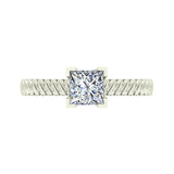 Princess Cut Rope Setting Solitaire Engagement Ring 14K Gold (I,I1) - White Gold